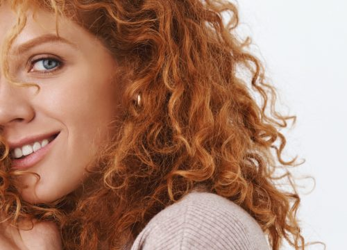 Redheaded woman with freckles