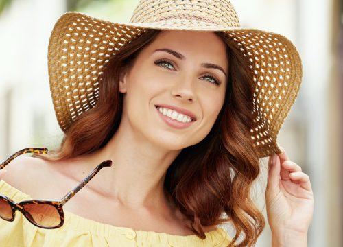 Woman with slight sun damage