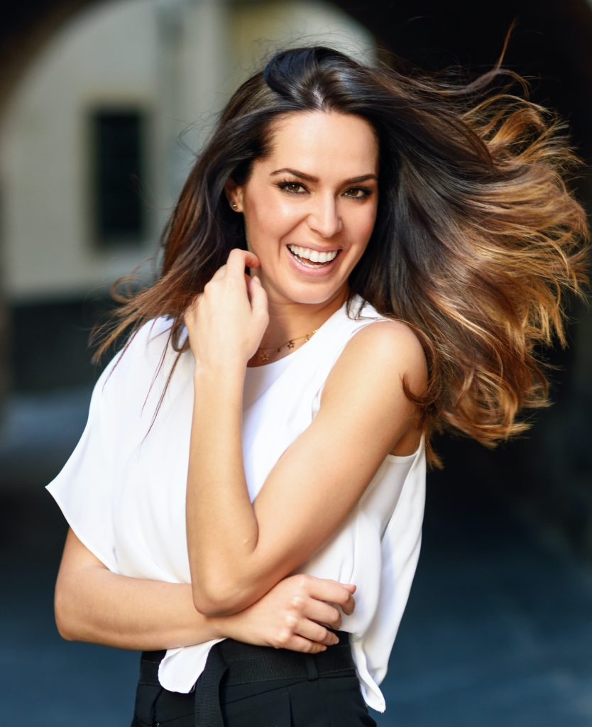 Happy brunette woman